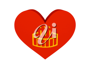 Big red heart with birthday cake symbol. Concept 3D illustration.