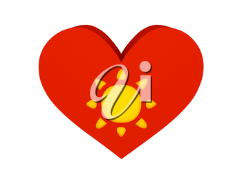 Big red heart with sun symbol. Concept 3D illustration.