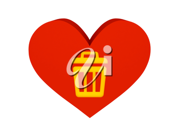 Big red heart with trash can symbol. Concept 3D illustration