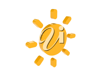Sun icon over white background. Concept 3D illustration.