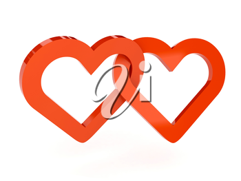 Two hearts over white background. Concept 3D illustration.