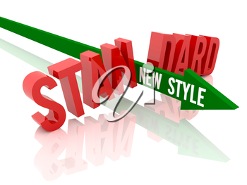Arrow with phrase New Style breaks word Standard. Concept 3D illustration.