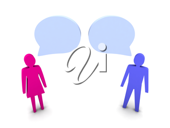 Man and woman dialog. Concept 3D illustration.