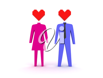 Figures of male and female in love. Concept 3D illustration.