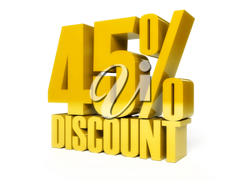 45 percent discount. Golden shiny text. Concept 3D illustration.