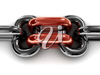 Double red chain link. Concept 3D illustration.