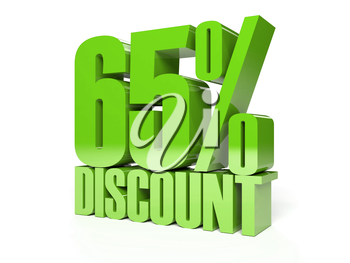 65 percent discount. Green shiny text. Concept 3D illustration.