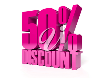 50 percent discount. Pink shiny text. Concept 3D illustration.