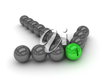 Grey arrow of the balls with the green leader in front. Concept 3D illustration