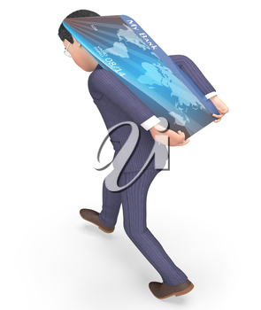 Credit Card Indicating Business Person And Paying 3d Rendering