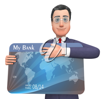 Credit Card Showing Currency Retail And Crisis 3d Rendering