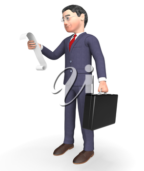 Character Businessman Meaning To Do List And Shopping 3d Rendering