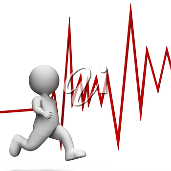 Running Heartbeat Showing Health Check And Care 3d Rendering