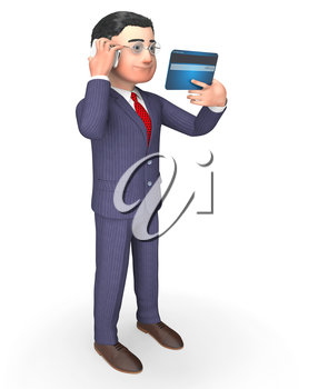 Credit Card Indicating Business Person And Mobile 3d Rendering
