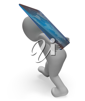 Credit Card Showing Shopping Debit And Spending 3d Rendering