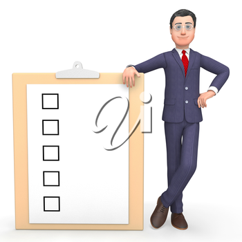 Check Marks Indicating Clip Board And Businessman 3d Rendering