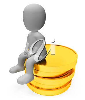 Character Money Meaning Saved Wealth And Saves 3d Rendering