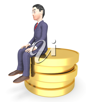 Money Character Representing Business Person And Riches 3d Rendering