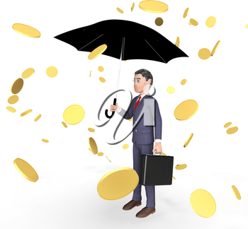 Character Coins Indicating Business Person And Finance 3d Rendering
