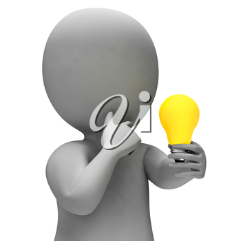 Lightbulb Idea Meaning Power Source And Character 3d Rendering