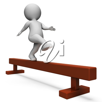 Balance Beam Showing Working Out And Man 3d Rendering