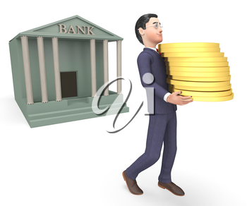 Bank Coins Meaning Business Person And Cash 3d Rendering
