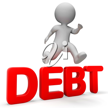 Character Debt Showing Climb Over And Credit 3d Rendering