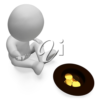 Coins Character Meaning Finance Treasure And Donation 3d Rendering