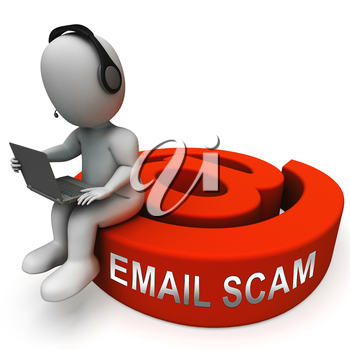 Phishing Scam Email Identity Alert 3d Rendering Shows Malicious Theft Of Id And Bank Details By Information Phish