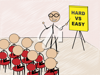Hard Vs Easy Sign Represents Tough Choice Versus Difficult Problem. Guidance To Solve A Problem Without Difficulty - 3d Illustration