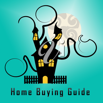 Home Or House Buying Guide Icon Means Real Estate Guidebook For Purchasing Investments Or Accomodation - 3d Illustration