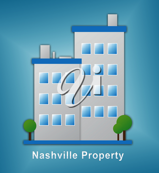 Nashville Homes Real Estate Building Depicts Tennessee Realty And Rentals. Apartment Or House Buying Broker Downtown - 3d Illustration