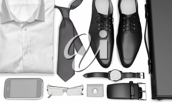 men's business clothes and accessories on white background; mens accessories