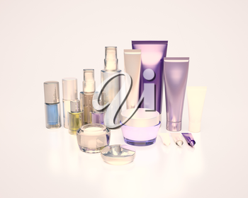 Daily, beauty care cosmetic. Face cream, eye cream, serum and lip balm. Evening Care of skin, hair.