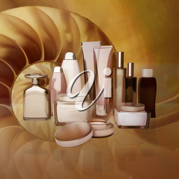 Daily, beauty care cosmetic. Face cream, eye cream, serum and lip balm. Skin care,  isolated.