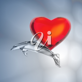 Heart and fish in the depth of the ocean.