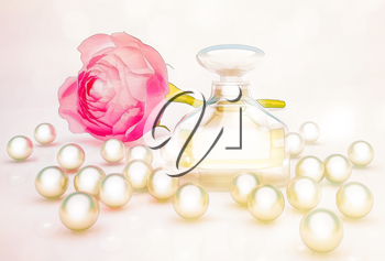 Perfume in beautiful bottle with flower and pearls.