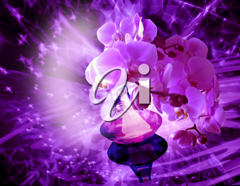 abstract background with the perfume and Orchid flowers