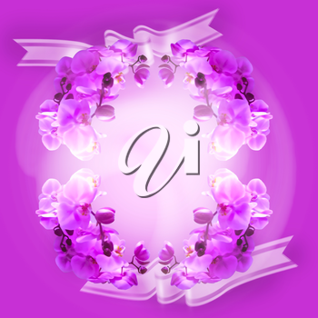Orchid flower greeting card background.