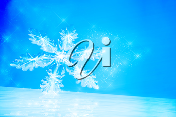 Winter background with Snowflake on ice.