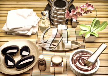 Spa Setting with Essence Oil,Natural Soap,Soft Towel.