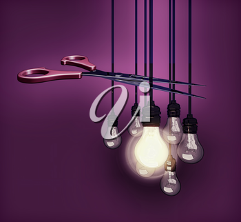 scissors cutting electric wire, 3D illustration
