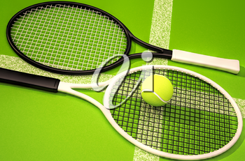 Tennis rackets and ball on a green background.