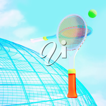 Tennis ball and rackets against a globe silhouette and sky.
