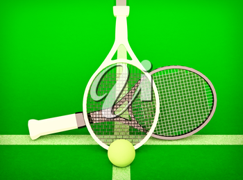 Tennis; rackets; sphere; court; game; green.