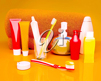 Toothpaste, brush, soap, balm, tooth thread, towel on an orange background.
