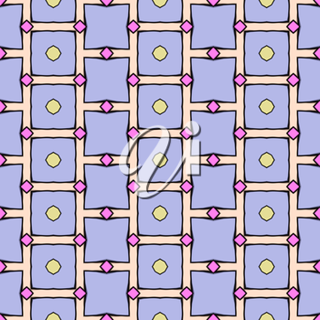 Abstract blue, purple background with squares in cartoon style.