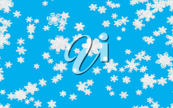 Snowfall illustration with fallen snowflakes on blue background.