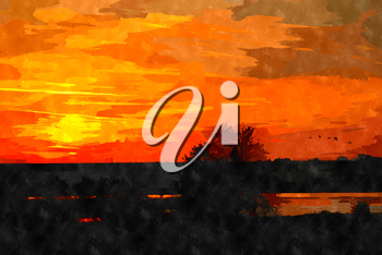 Watercolor digitally generated painting of the beautiful sunset over a landscape.