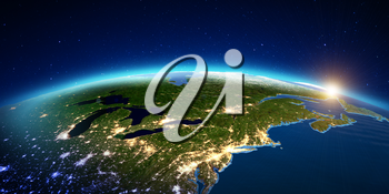 New York city from space sunrise. Elements of this image furnished by NASA. 3D rendering